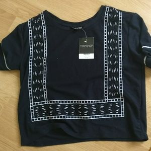 Topshop navy embroidered tee